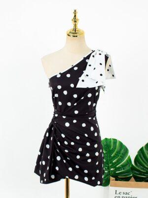 Rose – BlackPink One-Shoulder Bow Polka Dot Dress (21)