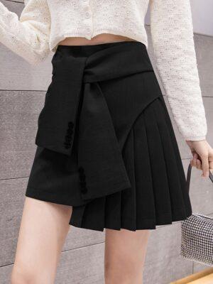 Sana – Twice Black Tied Waist Pleated Skirt (17)