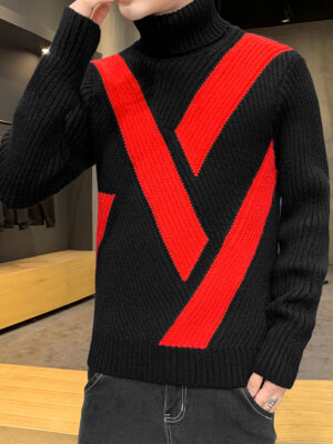 Black And Red Color Block Turtleneck Sweater Mingyu – Seventeen 3