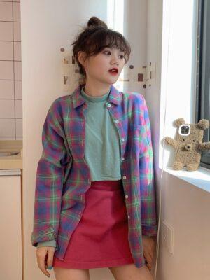 Hoshi – Seventeen Lilac Plaid Shirt (20)