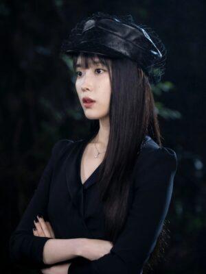 Black Leather Veil Cap   IU – Hotel Del Luna
