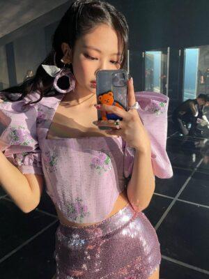 Floral Pattern Lilac Corset Top   Jennie – BlackPink