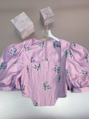 Jennie – BlackPink Floral Pattern Lilac Corset Top (33)