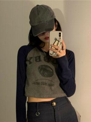 Long Sleeves Printed Crop Top T-Shirt Giselle – Aespa 2