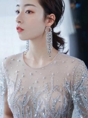 Round Crystal Dangling Earrings Jisoo – BlackPink 5