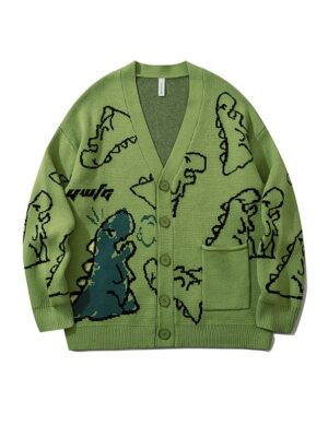 Jisoo – BlackPink Green Cartoon Dinosaur Cardigan (6)