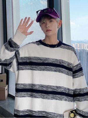 DK – Seventeen – Grey Striped Sweater 5
