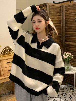 Jeonghan – Seventeen – Black Striped Knit Sweater (11)